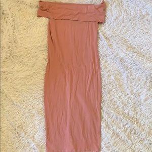Bodycon pale pink midi dress